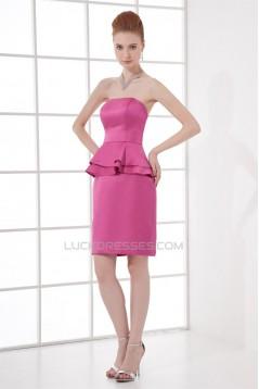 Strapless Sheath/Column Ruffles Short/Mini Prom/Formal Evening Bridesmaid Dresses 02021540