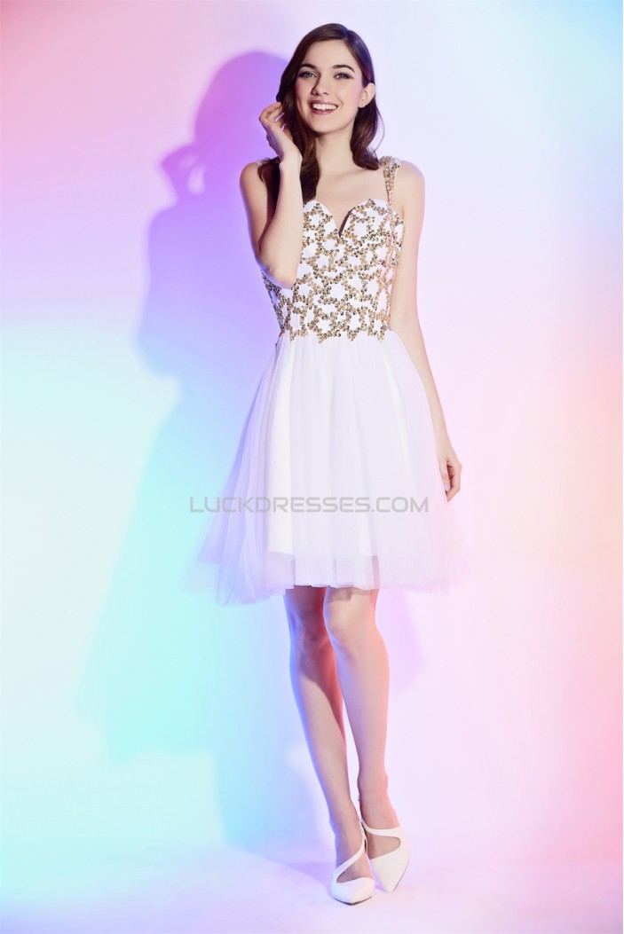 A-Line Straps Sleeveless Sequins Beaded Knee-Length Prom Formal Evening Cocktail Homecoming Dresses 02021544