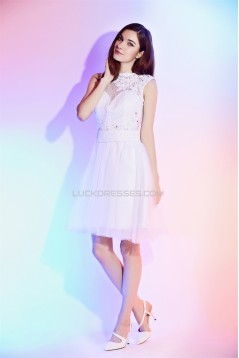A-Line Short White Lace Prom/Formal Evening Cocktail Homecoming Dresses 02021546