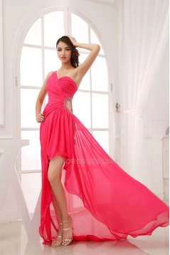 High Low One-Shoulder Beaded Prom/Formal Evening Dresses 02020155