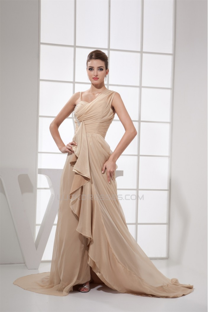 Chiffon Sleeveless Ruched Long Prom/Formal Evening Dresses 02020156