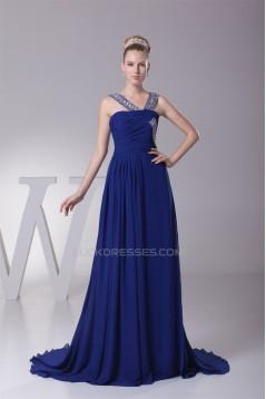 A-Line Sleeveless Beaded Long Blue Chiffon Prom/Formal Evening Dresses 02020158