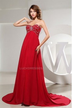 A-Line Empire Beaded Long Red Chiffon Prom/Formal Evening Maternity Dresses 02020159