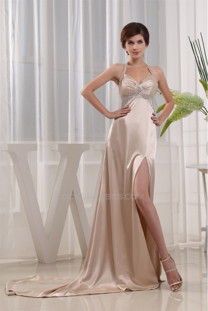 Court Train Elastic Woven Satin Halter A-Line Prom/Formal Evening Dresses 02020161