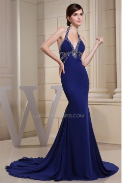Trumpet/Mermaid Halter Long Blue Chiffon Prom/Formal Evening Dresses 02020162