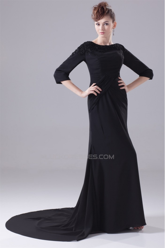 Court Train Sheath/Column Chiffon Long Black Prom/Formal Evening Dresses 02020163