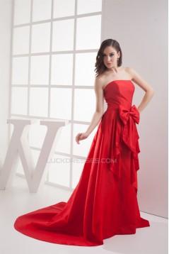 A-Line Strapless Court Train Taffeta Sleeveless Long Prom/Formal Evening Dresses 02020166