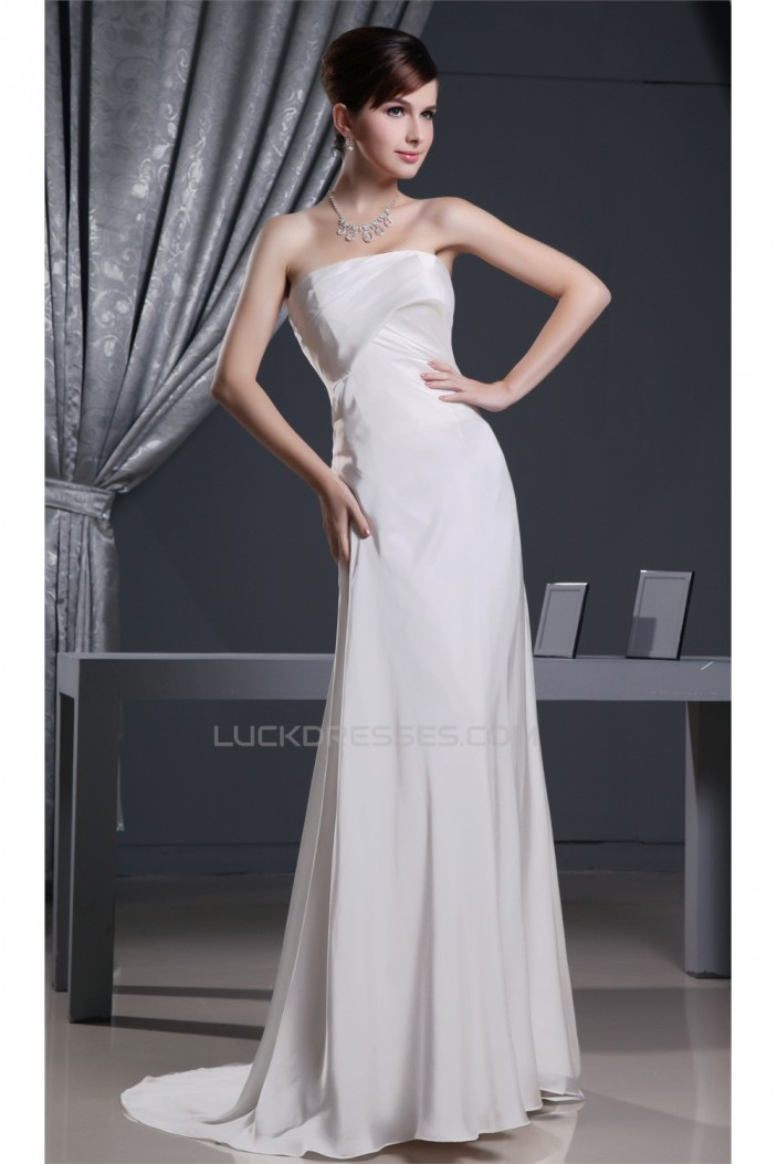 Criss Cross Strapless Sleeveless Puddle Train Long Prom/Formal Evening Dresses 02020168