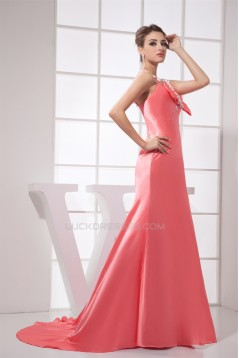 Elastic Woven Satin Ruched Sleeveless Brush Sweep Train Prom/Formal Evening Dresses 02020169