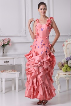 Floor-Length A-Line Cascading Ruffles Straps Prom/Formal Evening Dresses 02020172
