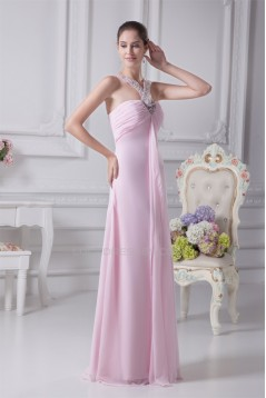 A-Line Floor-Length Sleeveless Long Pink Prom Evening Bridesmaid Dresses 02020173