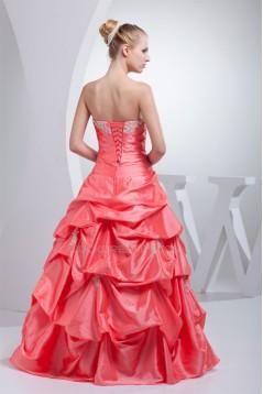 Ball Gown Floor-Length Ruffles Taffeta Organza Prom/Formal Evening Dresses 02020177