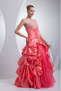 Ball Gown Floor-Length Ruffles Taffeta Organza Prom/Formal Evening Dresses 02020177