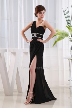 Floor-Length Beading One-Shoulder Long Black Chiffon Prom/Formal Evening Dresses 02020180