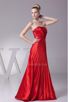 A-Line Floor-Length Beading Pleated Silk like Satin Long Red Prom/Formal Evening Dresses 02020182