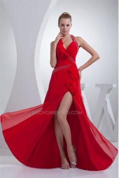 Floor-Length Beading Sleeveless Halter A-Line Long Red Prom/Formal Evening Dresses 02020185