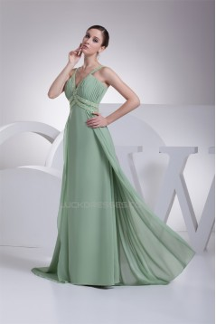 A-Line Floor-Length Chiffon Beaded Long Prom Evening Formal Bridesmaid Dresses 02020186