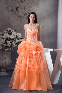 Ball Gown Floor-Length Handmade Flowers Sweetheart Prom/Formal Evening Dresses 02020187