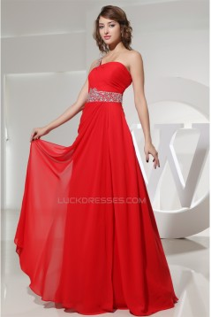 A-Line Floor-Length One-Shoulder Beading Long Red Chiffon Prom/Formal Evening Dresses 02020188
