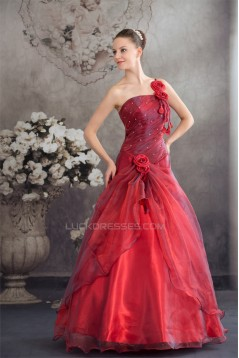 Ball Gown Floor-Length One-Shoulder Beading Prom/Formal Evening Dresses 02020189