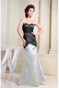 Floor-Length Satin Tulle Sleeveless Mermaid/Trumpet Black White Prom/Formal Evening Dresses 02020193