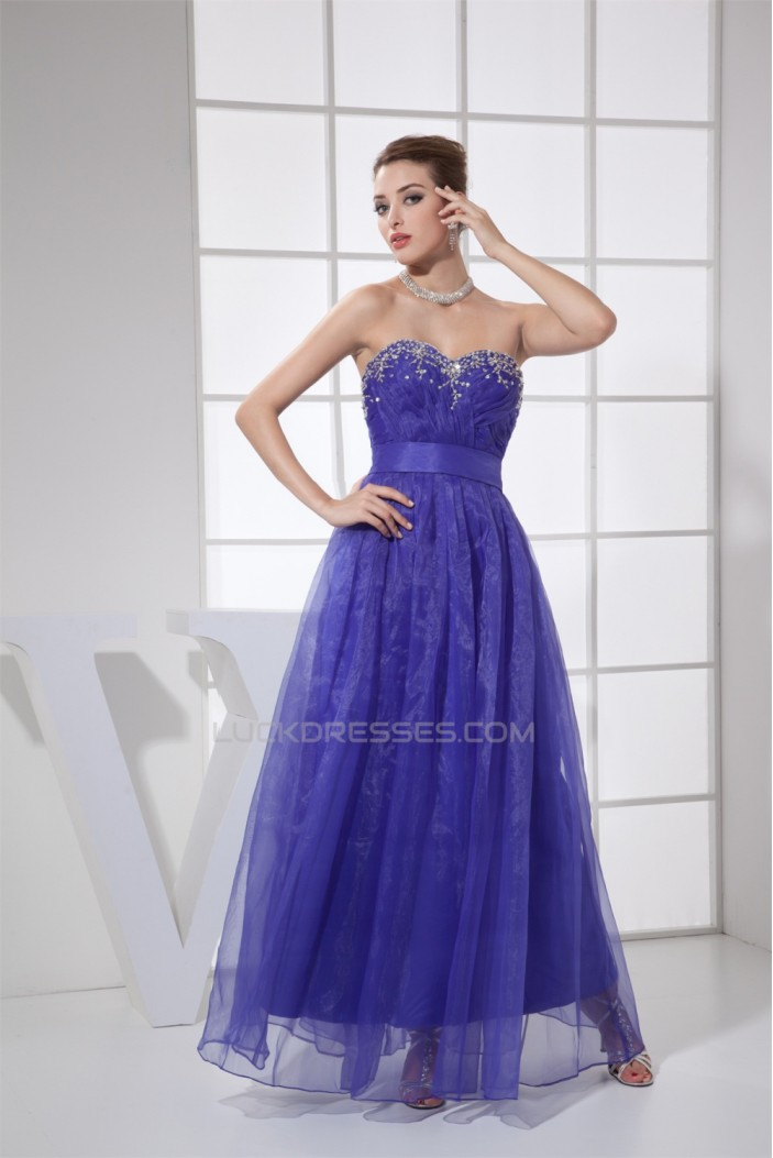 A-Line Sweetheart Beaded Long Blue Prom/Formal Evening Dresses 02020194