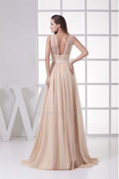 A-Line Floor-Length Sleeveless Fine Netting Long Prom/Formal Evening Dresses 02020195