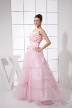 Floor-Length Sleeveless Ruffles Long Pink Prom/Formal Evening Dresses 02020196