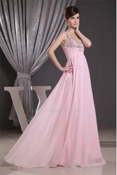 A-Line Floor-Length V-Neck Chiffon Long Pink Prom Evening Bridesmaid Dresses 02020202