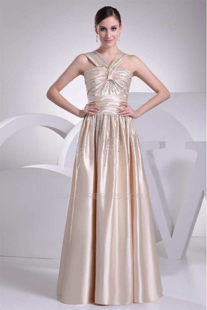 Halter A-Line Beading Sleeveless Silk like Satin Prom/Formal Evening Dresses 02020204
