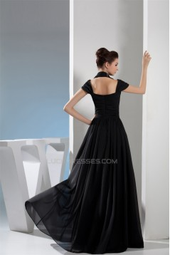 A-Line Halter Floor-Length Sleeveless Pleats Chiffon Long Black Prom/Formal Evening Dresses 02020205