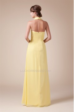 Halter Sleeveless Beading Chiffon Long Yellow Prom Evening Bridesmaid Dresses 02020206