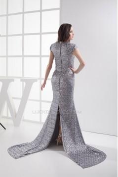 High-Neck Mermaid/Trumpet Sleeveless Brush Sweep Train Sequins Prom/Formal Evening Dresses 02020210