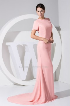 Hollow Back Satin Chiffon Puddle Train Short Sleeve Long Pink Prom/Formal Evening Dresses 02020211