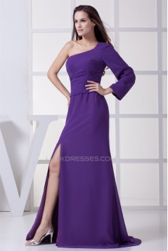 Long Sleeves Brush Sweep Train Ruched Chiffon Long Purple Prom/Formal Evening Dresses 02020215