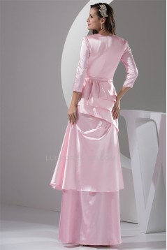 Long Sleeves Floor-Length A-Line Beading Long Pink Prom/Formal Evening Dresses 02020216