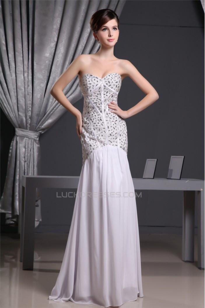 Mermaid/Trumpet Beading Chiffon Long White Prom/Formal Evening Dresses 02020217