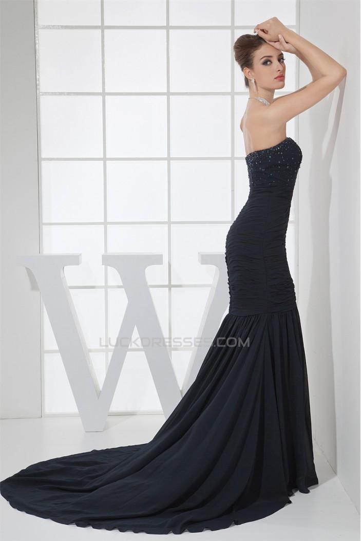 Mermaid/Trumpet Brush Sweep Train Chiffon Long Prom Evening Formal Dresses 02020219