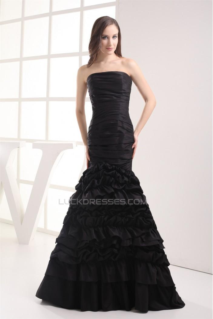 Mermaid/Trumpet Sleeveless Strapless Brush Sweep Train Long Black Prom Evening Dresses 02020222