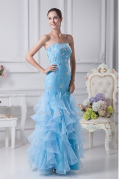 Mermaid/Trumpet Strapless Beading Sleeveless Long Blue Prom/Formal Evening Dresses 02020223