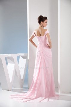 Off-the-Shoulder Sleeveless Brush Sweep Train Long Pink Prom/Formal Evening Dresses 02020226