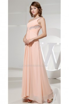 A-Line One-Shoulder Chiffon Long Prom/Formal Evening Dresses 02020228