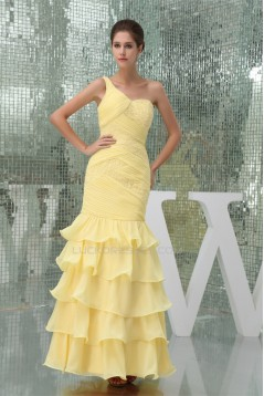 Trumpet/Mermaid One-Shoulder Beading Chiffon Long Yellow Prom/Formal Evening Dresses 02020229