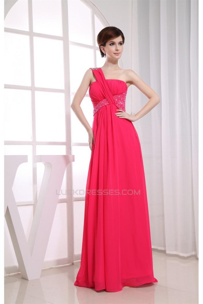 One-Shoulder Beading Floor-Length Sleeveless Long Prom Evening Bridesmaid Dresses 02020230