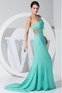 Trumpet/Mermaid One-Shoulder Beading Puddle Train Sleeveless Prom/Formal Evening Dresses 02020231