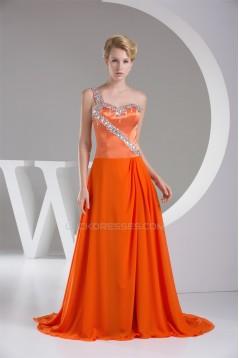 One-Shoulder Beading Puddle Train Sleeveless Prom/Formal Evening Dresses 02020232
