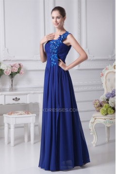 A-Line One-Shoulder Floor-Length Long Blue Prom/Formal Evening Bridesmaid Dresses 02020233