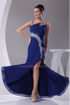 One-Shoulder Sheath/Column Chiffon Long Blue Prom/Formal Evening Dresses 02020234