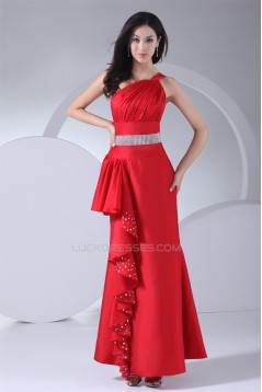 One-Shoulder Taffeta Floor-Length Sheath/Column Long Red Prom/Formal Evening Dresses 02020238