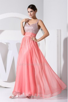 A-Line Straps Sleeveless Beaded Long Pink Prom/Formal Evening Dresses 02020241